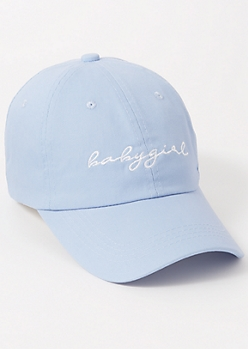 Blue Embroidered Baby Girl Dad Hat