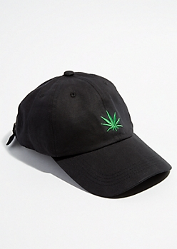 Black Weed Leaf Dad Hat