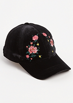 Rose Embroidered Velvet Dad Hat