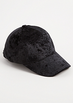 Black Crushed Velvet Dad Hat