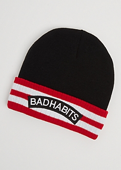 Bad Habits Striped Beanie