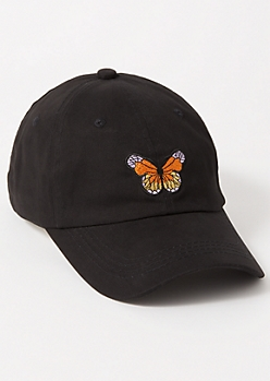 Black Butterfly Embroidered Dad Hat