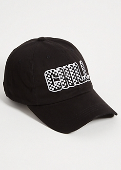 Black Checkered Print Chill Twill Dad Hat