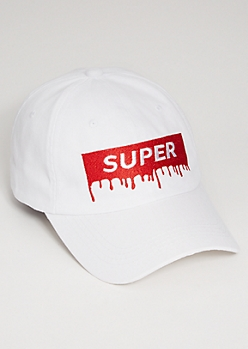 White Super Drip Patch Twill Dad Hat