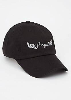 Black Angel Embroidered Dad Hat