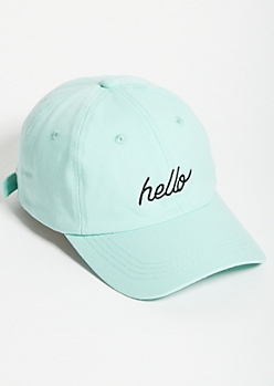 Mint Green Hello Twill Dad Hat