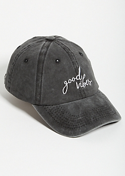 Washed Black Good Vibes Dad Hat
