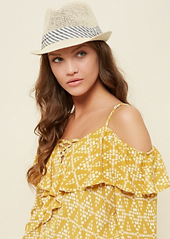 Natural Striped Pattern Straw Fedora