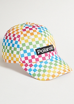 Rainbow Checkered Print Polaroid Dad Hat