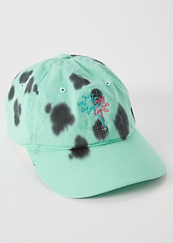 Mint Bleached Embroidered Palm Tree Dad Hat