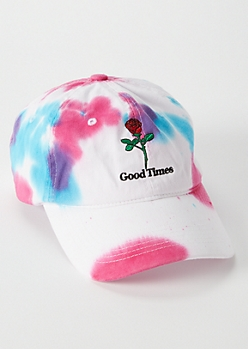 Pink Tie-Dye Embroidered Rose Dad Hat