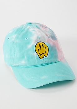 Aqua Tie-Dye Embroidered Drip Smiley Face Dad Hat