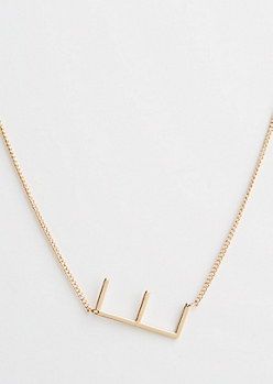 Gold E Initial Necklace