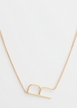 Gold R Initial Necklace