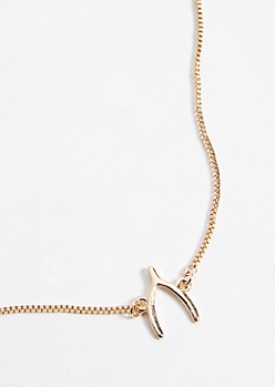 Gold Wishbone Pendant Necklace