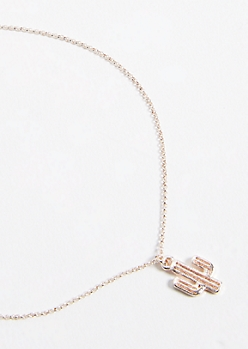 Rose Gold Cactus Pendant Necklace