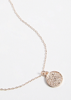 Rose Gold Gemstone Charm Pendant Necklace