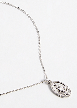 Silver Saint Charm Pendant Necklace