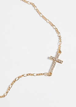Gold Gemstone Cross Pendant Necklace