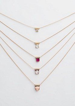 Gold Multi Stone Layered Necklace