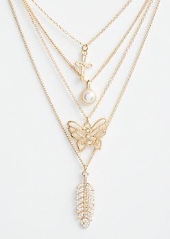 Gold Cross & Leaf Layered Necklace