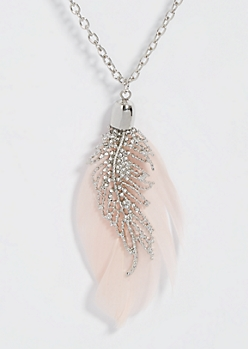Silver Rhinestone Feather Pendant Necklace