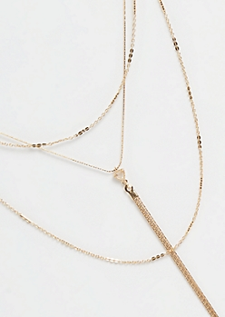 Gold Drop Sleek Chain Layered Necklace