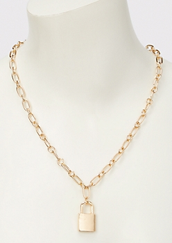 Gold Lock Charm Chain Necklace