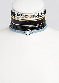 5-Pack Jean & Leather Choker Set
