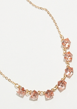 Gold Cubic Gem Necklace