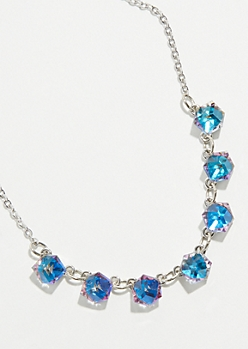 Silver Cubic Gem Necklace
