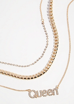 3-Pack Gold Queen Chain Necklace Set