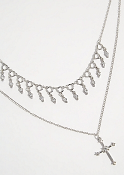 Silver Gem Cross Layered Necklace