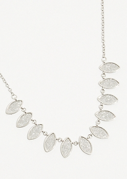 Silver Glitter Statement Necklace