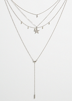 Silver Star Y Shape Drop Layered Necklace