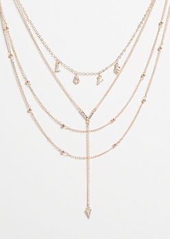 Rose Gold Chevron Y Shape Drop Layered Necklace
