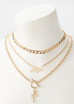 Gold Angel Layered Necklace Set