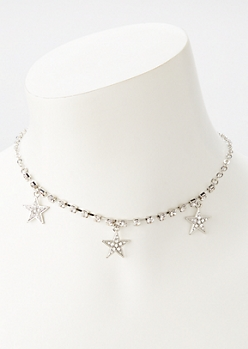 Silver Rhinestone Star Charm Necklace