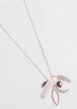 Rose Gold Moon Cluster Necklace