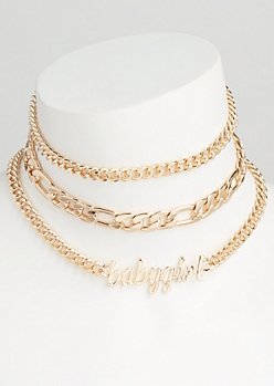 3-Pack Gold Baby Girl Choker Necklace Set