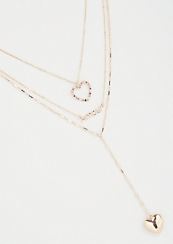 Gold Three Layer Heart Amour Necklace
