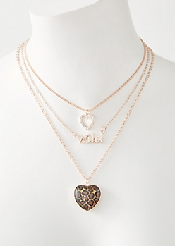 3-Pack Rose Gold Wild Heart Necklace Set
