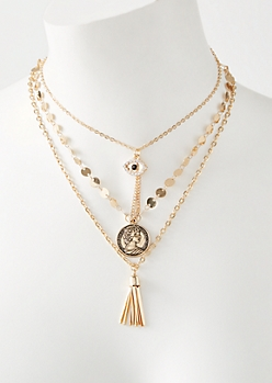 Gold Metal Tassel Layered Necklace
