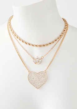 3-Pack Gold Gem Crown Necklace Set