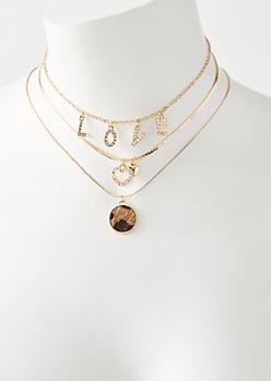 3-Pack Gold Leopard Fur Love Choker Necklace Set