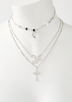 3-Pack Silver Love Cross Choker Necklace Set
