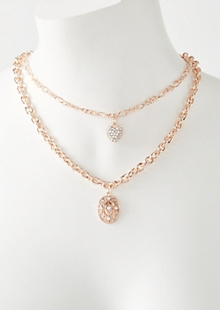Rose Gold Layered Coin Heart Necklace