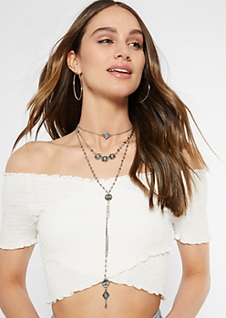 Silver Western Layered Necklace