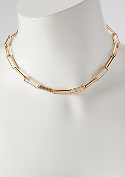 Gold Square Link Chain Choker Necklace