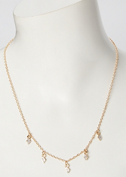 Gold Triple Rhinestone Charm Necklace